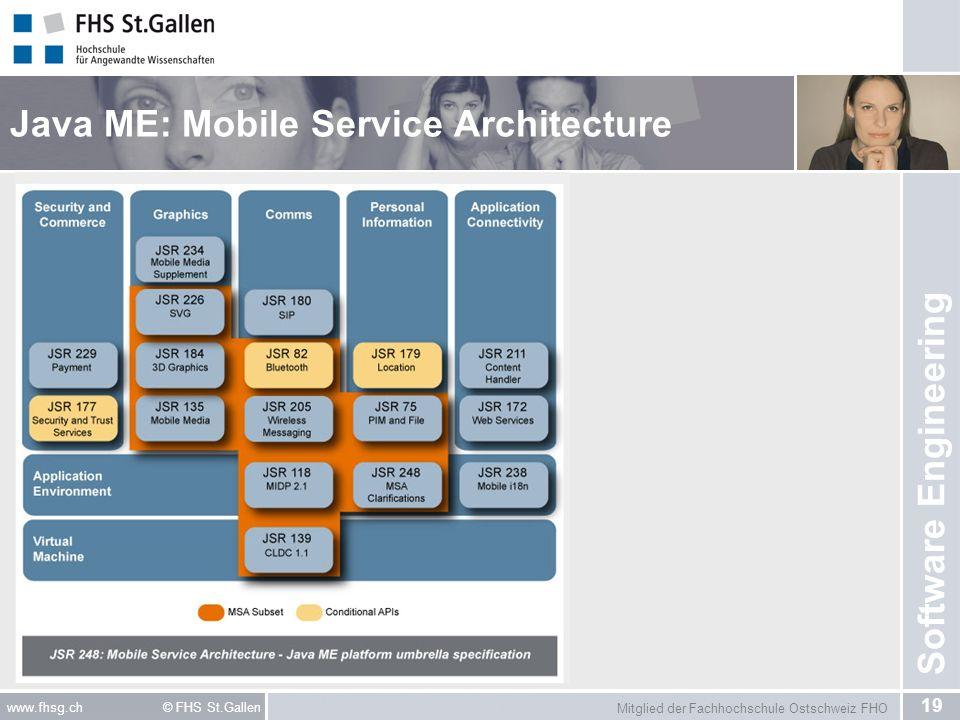 Mitglied der Fachhochschule Ostschweiz FHO 19 www.fhsg.ch © FHS St.Gallen Software Engineering Java ME: Mobile Service Architecture