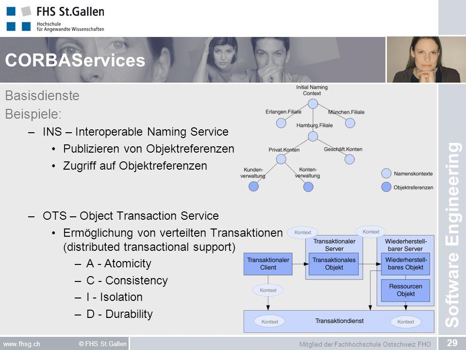 Mitglied der Fachhochschule Ostschweiz FHO 29 www.fhsg.ch © FHS St.Gallen Software Engineering CORBAServices Basisdienste Beispiele: –INS – Interopera