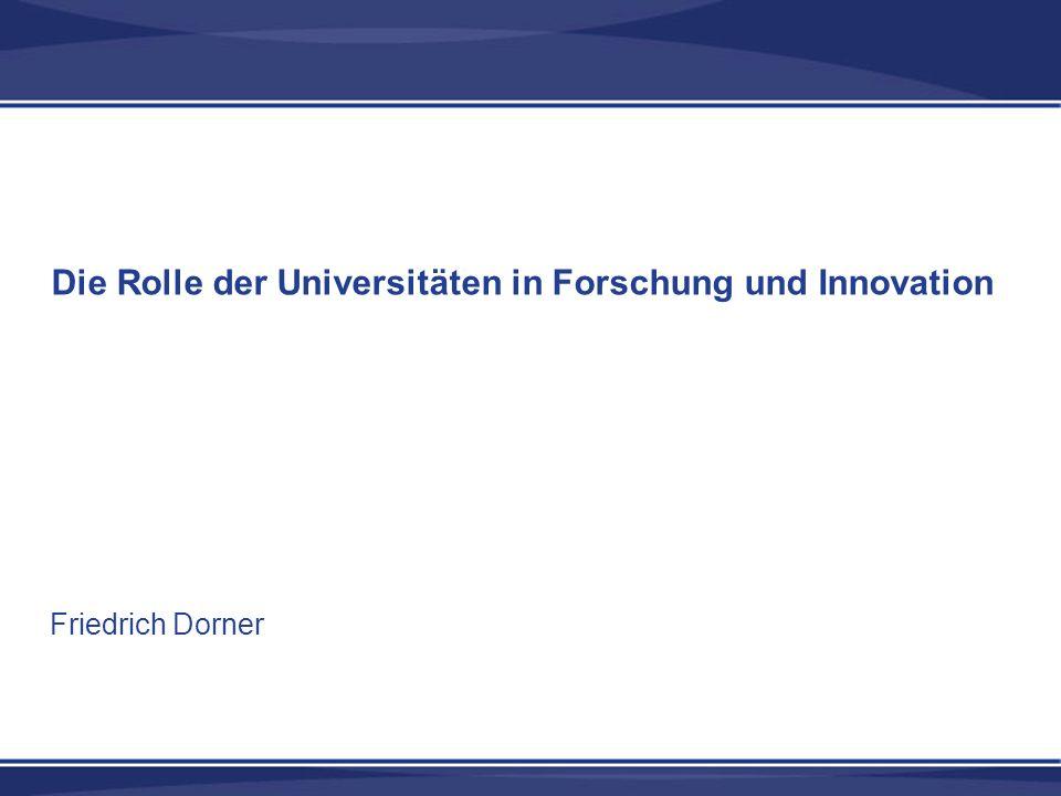 Die Rolle der Universitäten in Forschung und Innovation Friedrich Dorner