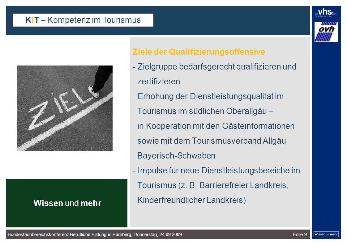 Folie 9 Ziele der Qualifizierungsoffensive - Zielgruppe bedarfsgerecht qualifizieren und zertifizieren - Erhöhung der Dienstleistungsqualität im Tourismus im südlichen Oberallgäu – in Kooperation mit den Gästeinformationen sowie mit dem Tourismusverband Allgäu Bayerisch-Schwaben - Impulse für neue Dienstleistungsbereiche im Tourismus (z.