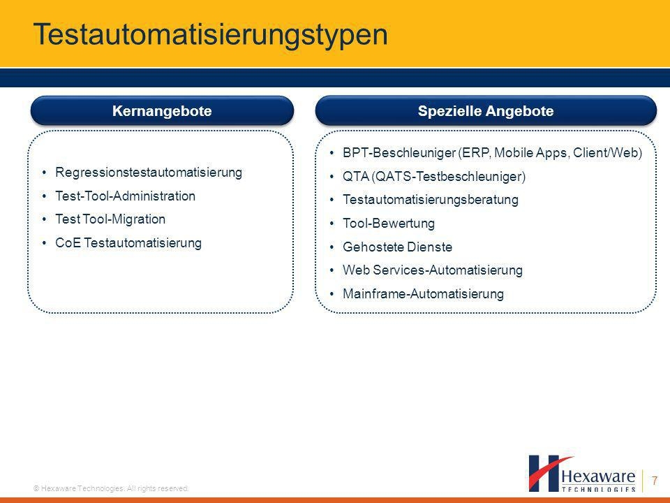 7 © Hexaware Technologies. All rights reserved. Kernangebote Regressionstestautomatisierung Test-Tool-Administration Test Tool-Migration CoE Testautom