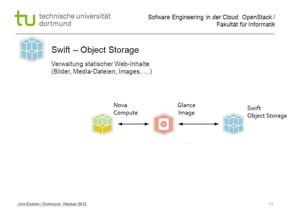 Sofware Engineering in der Cloud: OpenStack / Fakultät für Informatik 11 Jörn Esdohr   Dortmund, Oktober 2012 Swift – Object Storage Verwaltung statis