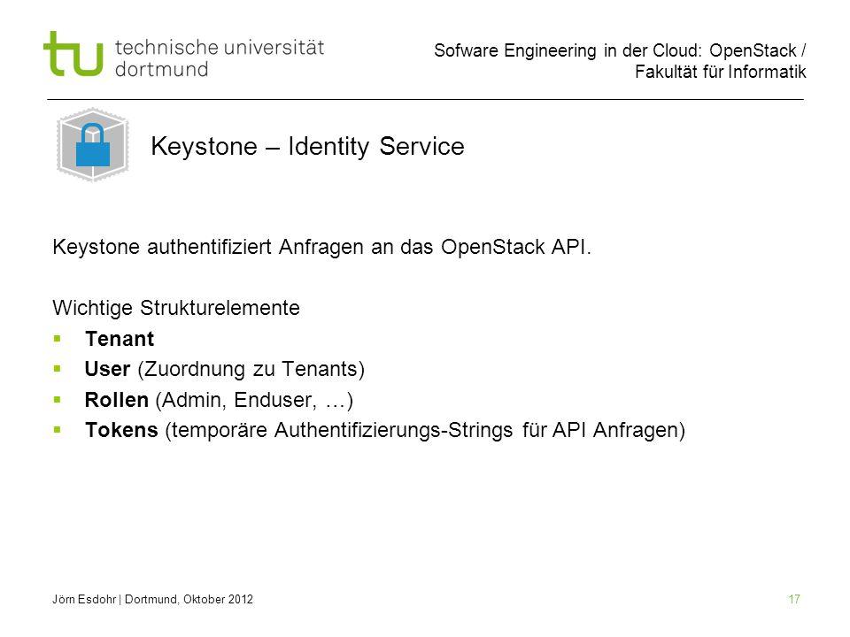 Sofware Engineering in der Cloud: OpenStack / Fakultät für Informatik 17 Keystone authentifiziert Anfragen an das OpenStack API. Wichtige Strukturelem