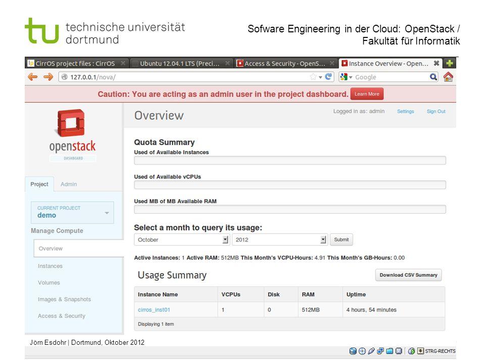Sofware Engineering in der Cloud: OpenStack / Fakultät für Informatik 19 Jörn Esdohr   Dortmund, Oktober 2012
