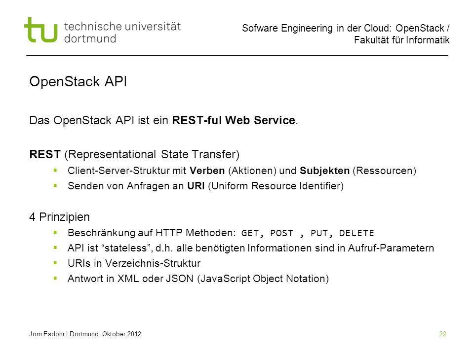 Sofware Engineering in der Cloud: OpenStack / Fakultät für Informatik 22 OpenStack API Das OpenStack API ist ein REST-ful Web Service. REST (Represent