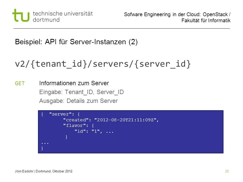 Sofware Engineering in der Cloud: OpenStack / Fakultät für Informatik 25 Beispiel: API für Server-Instanzen (2) v2/{tenant_id}/servers/{server_id} GET