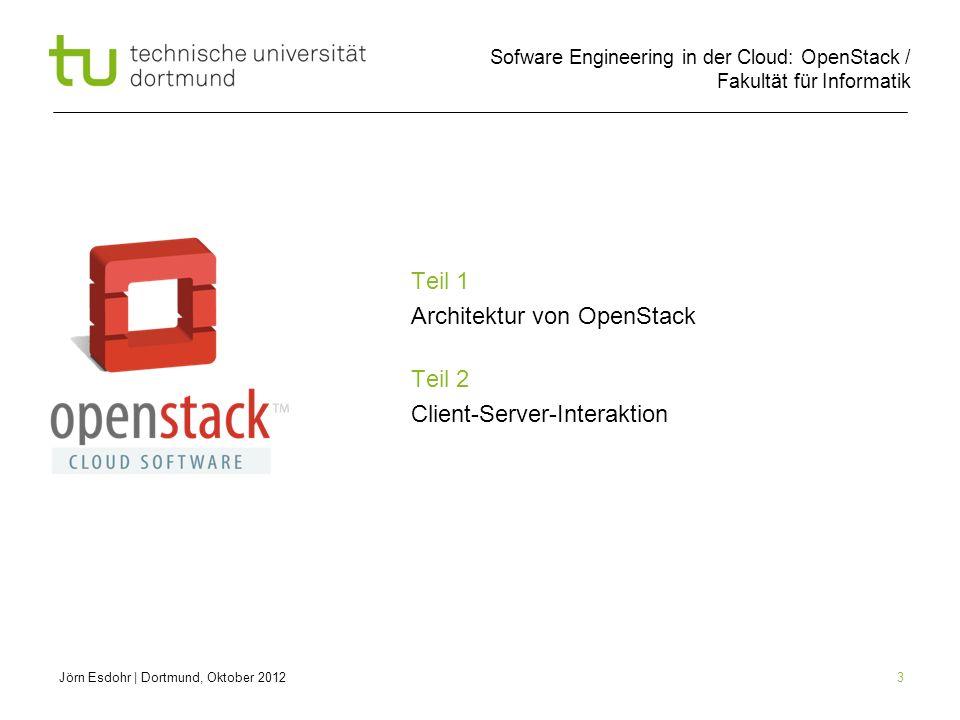 Sofware Engineering in der Cloud: OpenStack / Fakultät für Informatik 3 Teil 1 Architektur von OpenStack Teil 2 Client-Server-Interaktion Jörn Esdohr