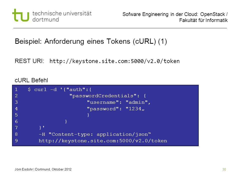 Sofware Engineering in der Cloud: OpenStack / Fakultät für Informatik 30 1 $ curl Beispiel: Anforderung eines Tokens (cURL) (1) REST URI: http://keyst