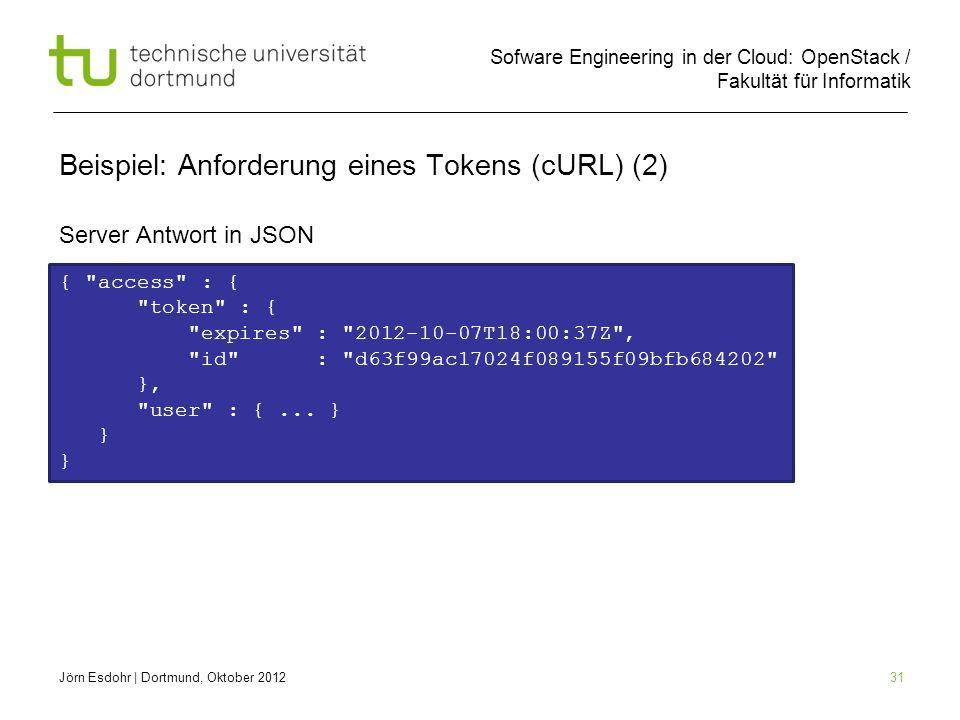 Sofware Engineering in der Cloud: OpenStack / Fakultät für Informatik 31 Beispiel: Anforderung eines Tokens (cURL) (2) Server Antwort in JSON Jörn Esd