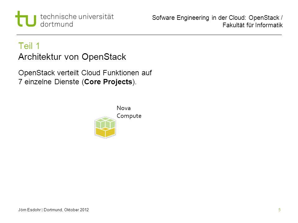 Sofware Engineering in der Cloud: OpenStack / Fakultät für Informatik 5 Teil 1 Architektur von OpenStack OpenStack verteilt Cloud Funktionen auf 7 ein