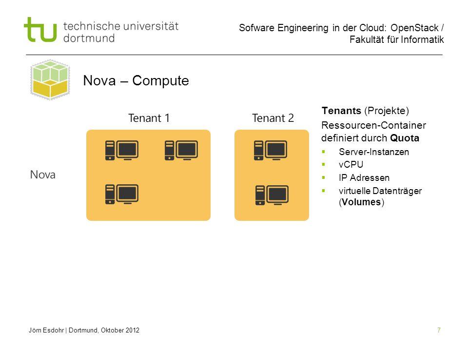 Sofware Engineering in der Cloud: OpenStack / Fakultät für Informatik 7 Jörn Esdohr | Dortmund, Oktober 2012 Nova – Compute Tenants (Projekte) Ressourcen-Container definiert durch Quota Server-Instanzen vCPU IP Adressen virtuelle Datenträger (Volumes)