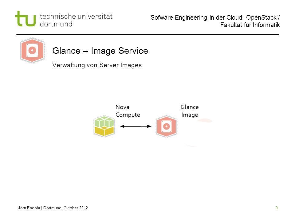 Sofware Engineering in der Cloud: OpenStack / Fakultät für Informatik 9 Jörn Esdohr | Dortmund, Oktober 2012 Verwaltung von Server Images Glance – Ima