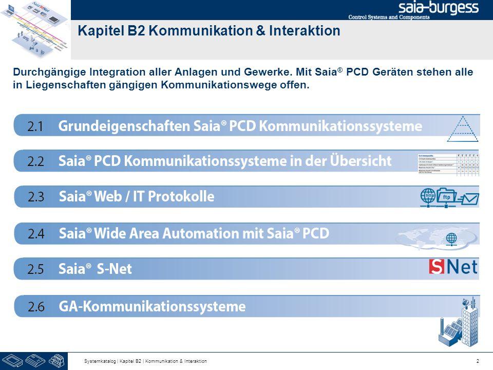 Kapitel B2 Kommunikation & Interaktion Durchgängige Integration aller Anlagen und Gewerke. Mit Saia ® PCD Geräten stehen alle in Liegenschaften gängig