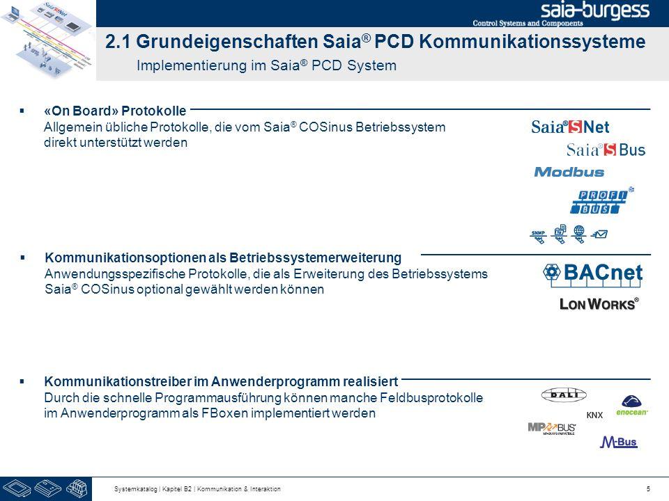 2.1 Grundeigenschaften Saia ® PCD Kommunikationssysteme Implementierung im Saia ® PCD System 5 Kommunikationstreiber im Anwenderprogramm realisiert Du