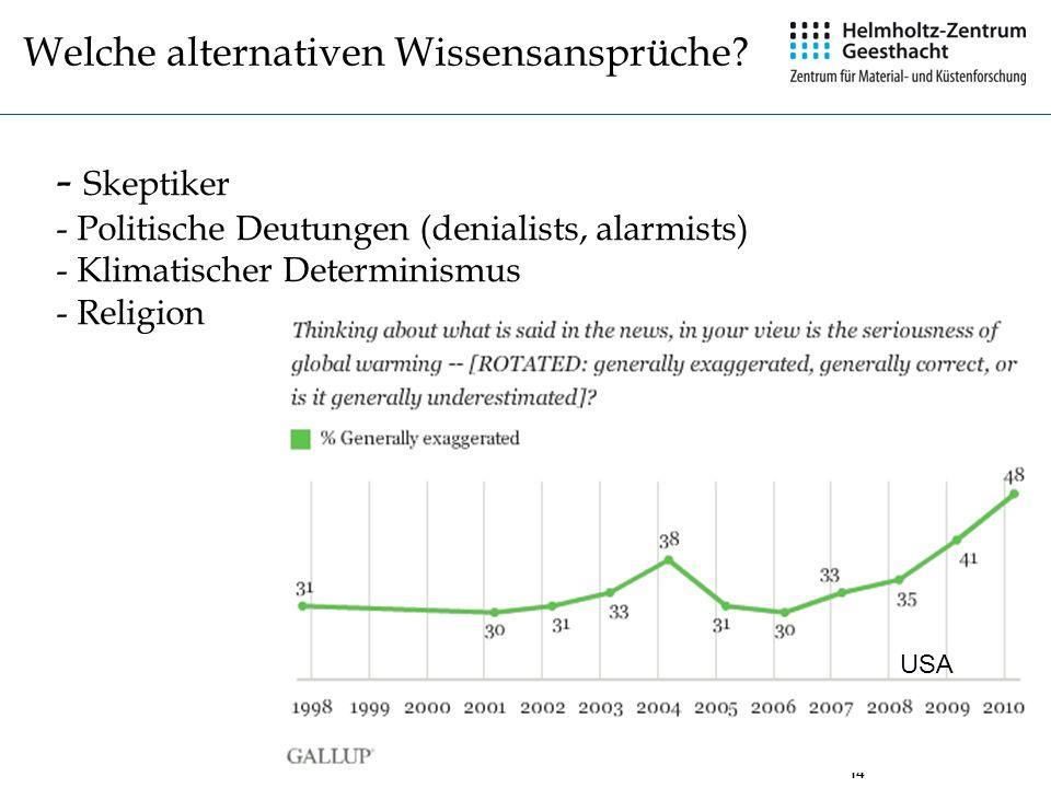 14 - Skeptiker - Politische Deutungen (denialists, alarmists) - Klimatischer Determinismus - Religion Welche alternativen Wissensansprüche? USA