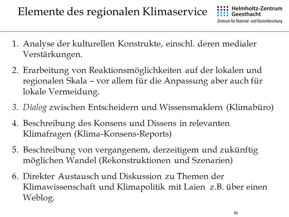 16 Elemente des regionalen Klimaservice 1.Analyse der kulturellen Konstrukte, einschl. deren medialer Verstärkungen. 2.Erarbeitung von Reaktionsmöglic