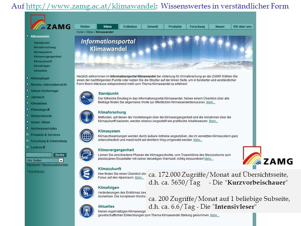 17 Wasserseminar Auf http://www.zamg.ac.at/klimawandel: Wissenswertes in verständlicher Formhttp://www.zamg.ac.at/klimawandel ca. 172.000 Zugriffe/Mon