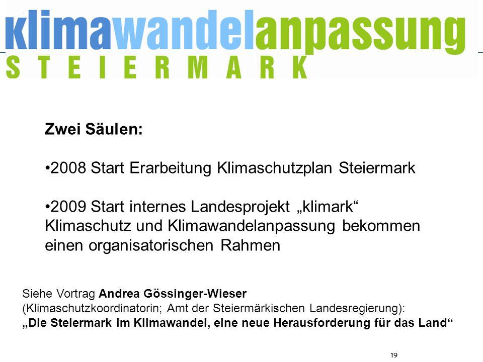 19 Zwei Säulen: 2008 Start Erarbeitung Klimaschutzplan Steiermark 2009 Start internes Landesprojekt klimark Klimaschutz und Klimawandelanpassung bekom