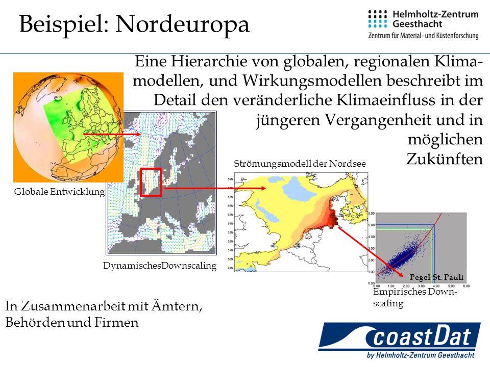 21 Globale Entwicklung DynamischesDownscaling Strömungsmodell der Nordsee Empirisches Down- scaling Pegel St. Pauli In Zusammenarbeit mit Ämtern, Behö
