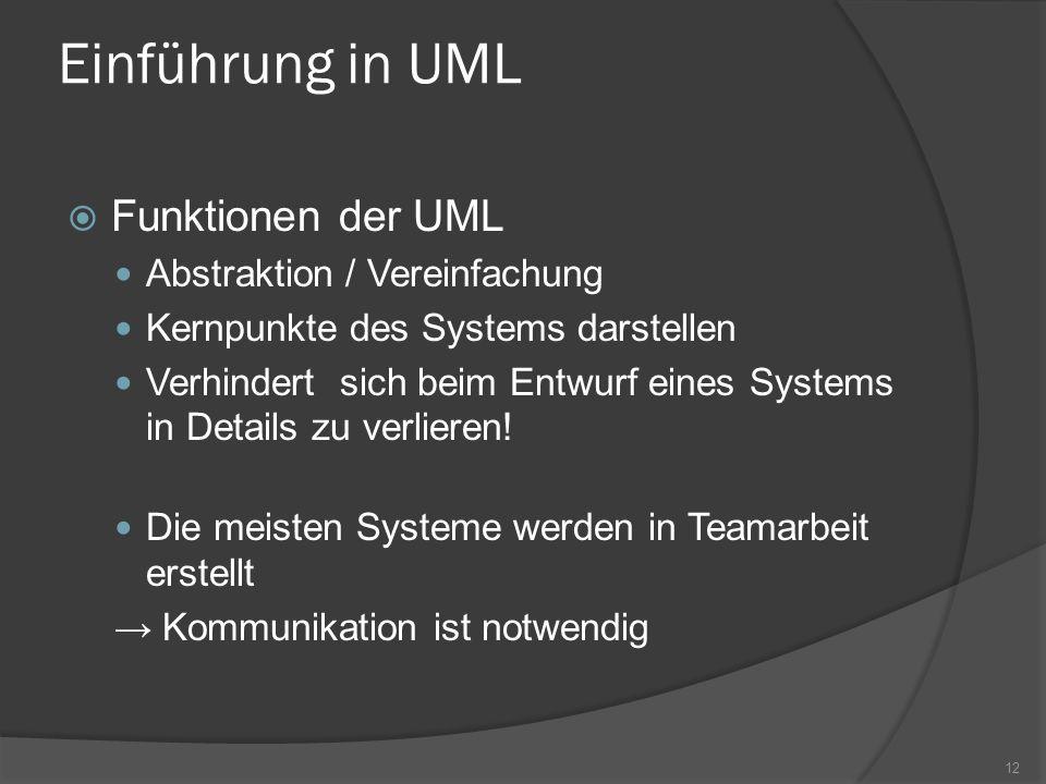 Einführung in UML Funktionen der UML Abstraktion / Vereinfachung Kernpunkte des Systems darstellen Verhindert sich beim Entwurf eines Systems in Detai