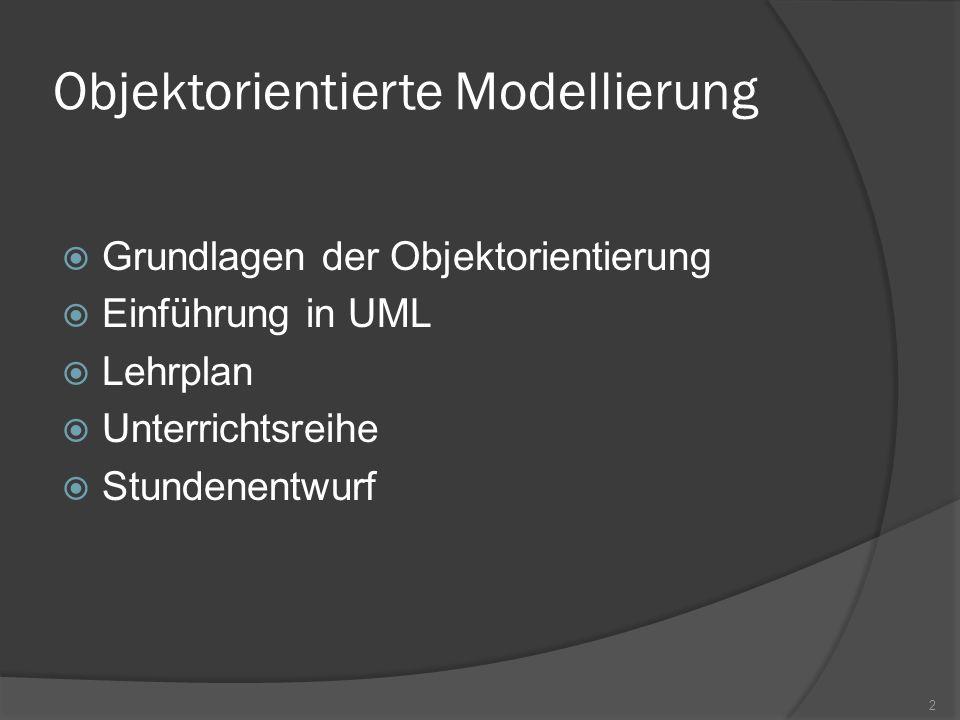 Einführung in UML Nicht nur Programmierer sind in den Entwicklungsprozess involviert gemeinsame, verständliche Sprache notwendig natürliche Sprache mehrdeutig und unpräzise Programmiersprachen nicht für alle verständlich Graphische UML füllt diese Lücke Vielfältige Beschreibungsmöglichkeiten 13