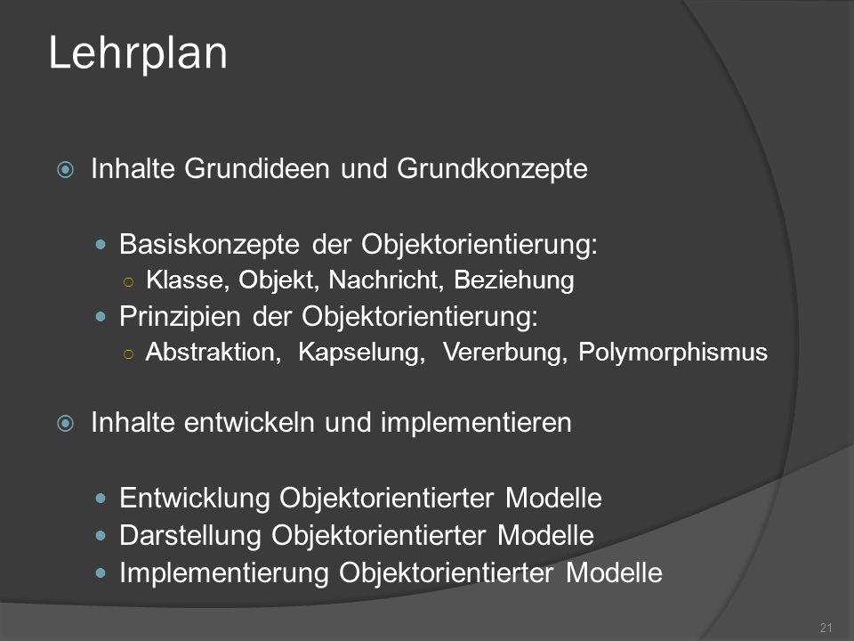 Lehrplan Inhalte Grundideen und Grundkonzepte Basiskonzepte der Objektorientierung: Klasse, Objekt, Nachricht, Beziehung Prinzipien der Objektorientie