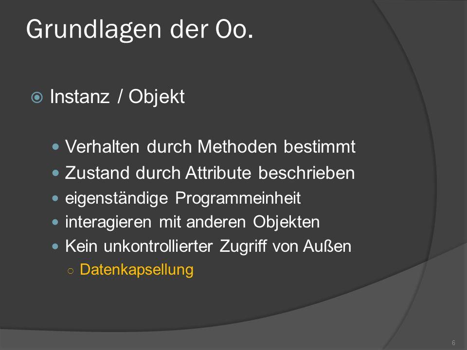 Grundlagen der Oo. Instanz / Objekt Verhalten durch Methoden bestimmt Zustand durch Attribute beschrieben eigenständige Programmeinheit interagieren m