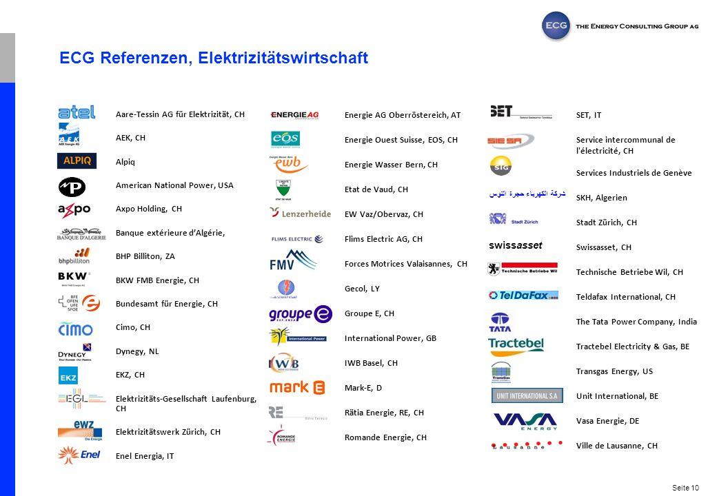 Seite 10 ECG Referenzen, Elektrizitätswirtschaft Aare-Tessin AG für Elektrizität, CH AEK, CH Alpiq American National Power, USA Axpo Holding, CH Banqu