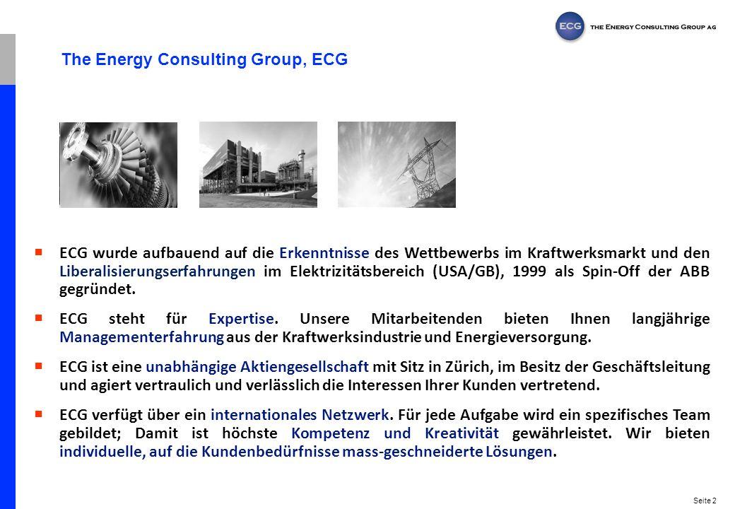 Seite 2 The Energy Consulting Group, ECG ECG wurde aufbauend auf die Erkenntnisse des Wettbewerbs im Kraftwerksmarkt und den Liberalisierungserfahrung