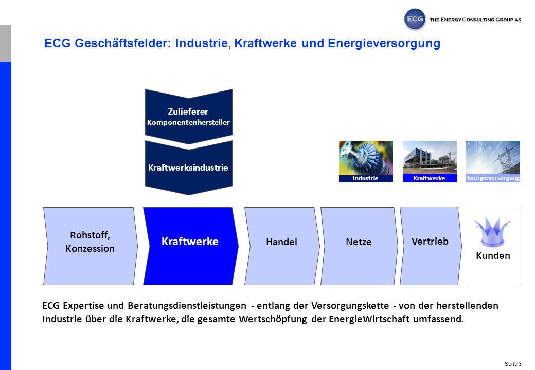 Seite 3 ECG Geschäftsfelder: Industrie, Kraftwerke und Energieversorgung Rohstoff, Konzession Kraftwerke Handel Netze Vertrieb Kunden ECG Expertise un