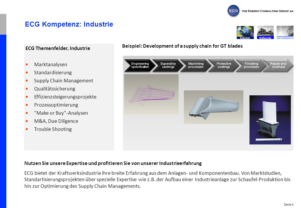 Seite 4 ECG Kompetenz: Industrie Nutzen Sie unsere Expertise und profitieren Sie von unserer Industrieerfahrung ECG bietet der Kraftwerksindustrie ihr