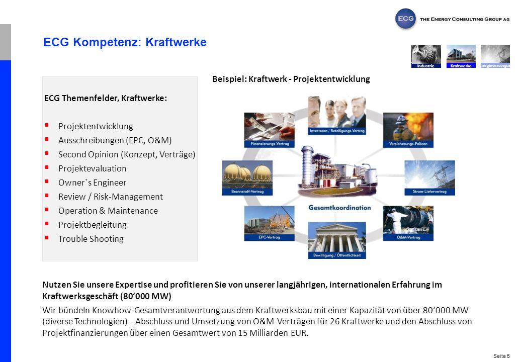 Seite 5 ECG Kompetenz: Kraftwerke Nutzen Sie unsere Expertise und profitieren Sie von unserer langjährigen, internationalen Erfahrung im Kraftwerksges