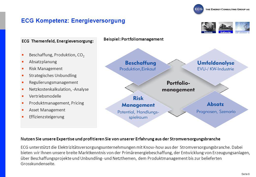 Seite 6 ECG Kompetenz: Energieversorgung Nutzen Sie unsere Expertise und profitieren Sie von unserer Erfahrung aus der Stromversorgungsbranche ECG unt