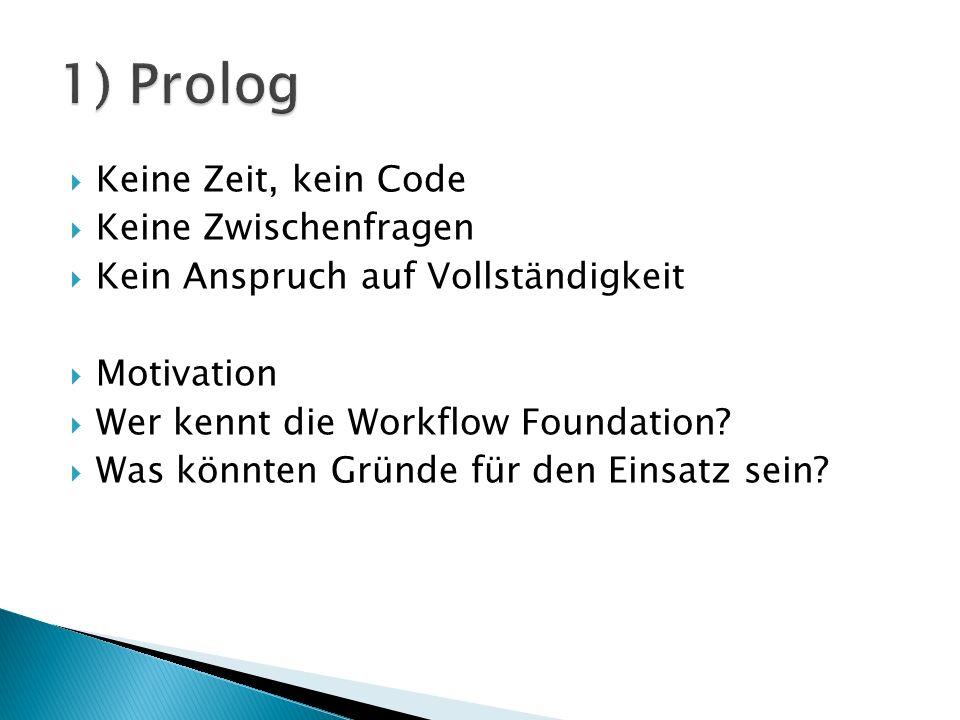 Keine Zeit, kein Code Keine Zwischenfragen Kein Anspruch auf Vollständigkeit Motivation Wer kennt die Workflow Foundation.
