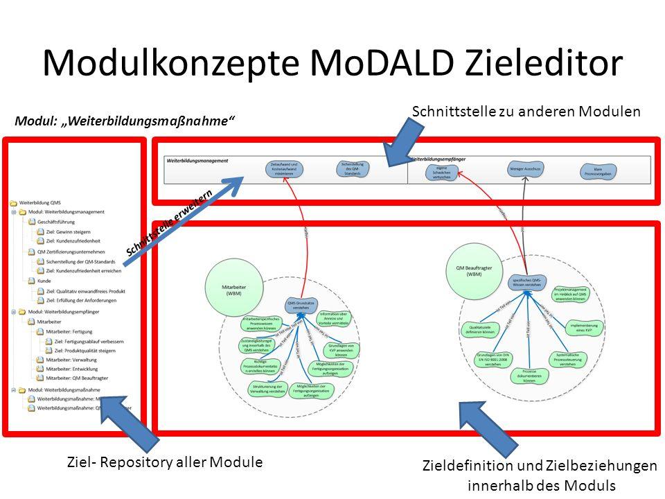 Modulkonzepte MoDALD Zieleditor Ziele werden jeweils innerhalb eines Modules definiert Beziehungen zwischen den Modulen werden mit Hilfe einer Schnittstelle realisiert Elemente können als Schnittstellenelement definiert werden Vorteile: – Konzentration auf einen Aspekt – Ausblendung von unwichtigen (internen) Elementen