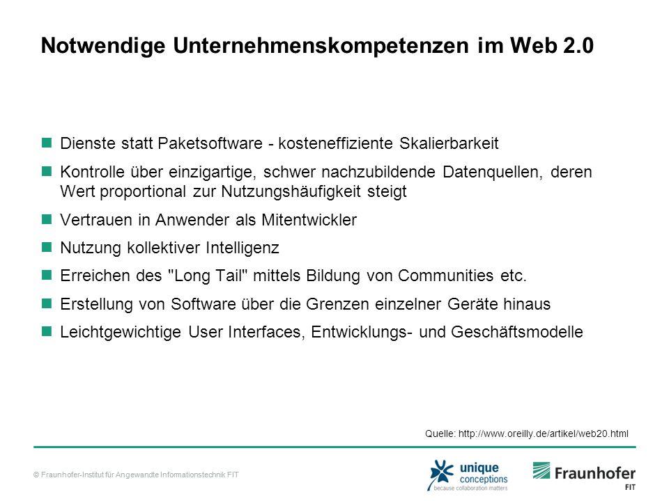 © Fraunhofer-Institut für Angewandte Informationstechnik FIT Notwendige Unternehmenskompetenzen im Web 2.0 Dienste statt Paketsoftware - kosteneffizie