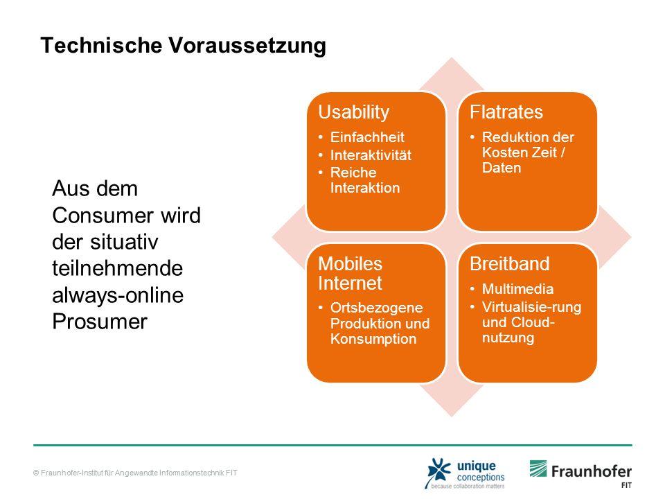 © Fraunhofer-Institut für Angewandte Informationstechnik FIT Technische Voraussetzung Usability Einfachheit Interaktivität Reiche Interaktion Flatrate