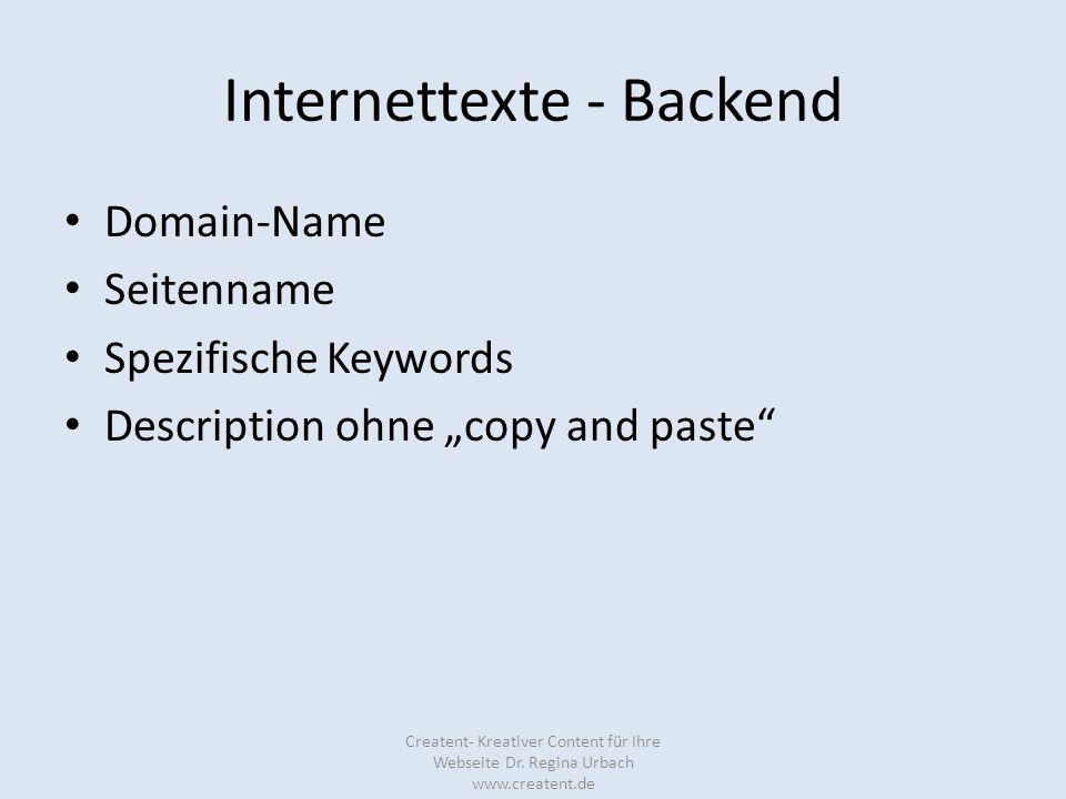 Internettexte - Backend Domain-Name Seitenname Spezifische Keywords Description ohne copy and paste Creatent- Kreativer Content für Ihre Webseite Dr.