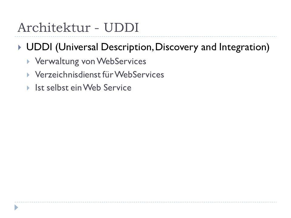 Architektur - UDDI UDDI (Universal Description, Discovery and Integration) Verwaltung von WebServices Verzeichnisdienst für WebServices Ist selbst ein