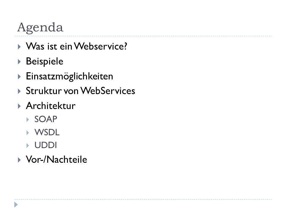 Agenda Was ist ein Webservice? Beispiele Einsatzmöglichkeiten Struktur von WebServices Architektur SOAP WSDL UDDI Vor-/Nachteile