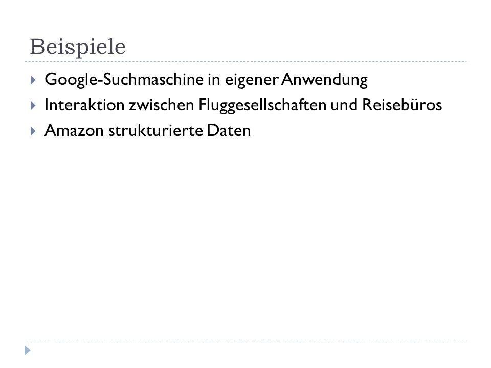 Beispiele Google-Suchmaschine in eigener Anwendung Interaktion zwischen Fluggesellschaften und Reisebüros Amazon strukturierte Daten