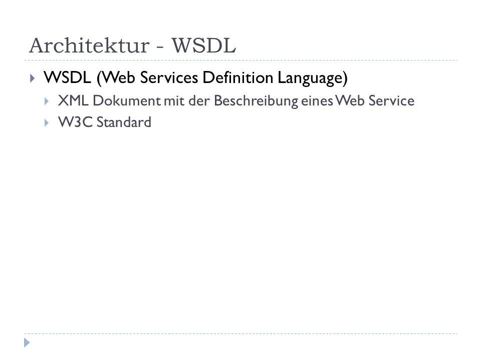 Architektur - UDDI UDDI (Universal Description, Discovery and Integration) Verwaltung von WebServices Verzeichnisdienst für WebServices Ist selbst ein Web Service