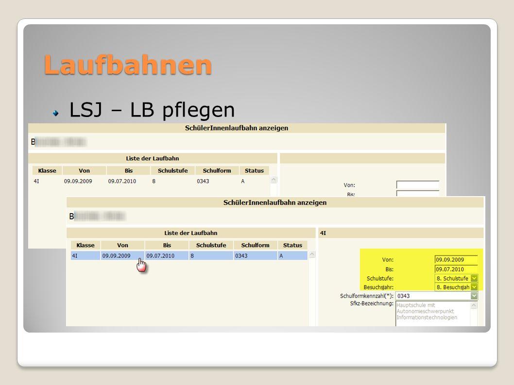 Laufbahnen LSJ – LB pflegen
