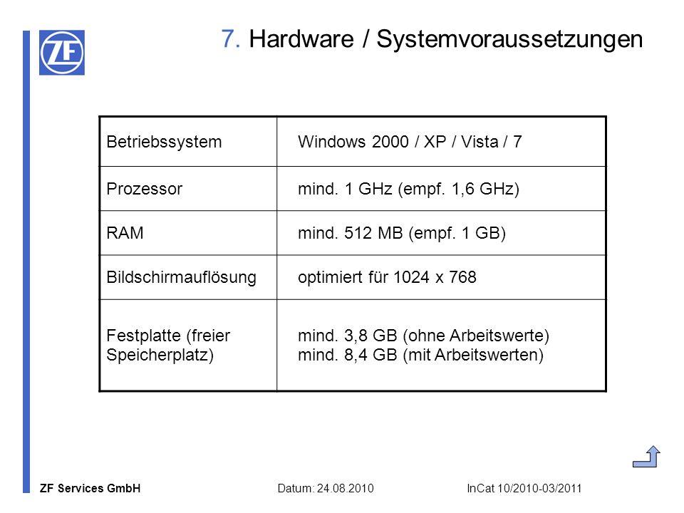 ZF Services GmbH Datum: 24.08.2010 InCat 10/2010-03/2011 7. Hardware / Systemvoraussetzungen Betriebssystem Windows 2000 / XP / Vista / 7 Prozessor mi