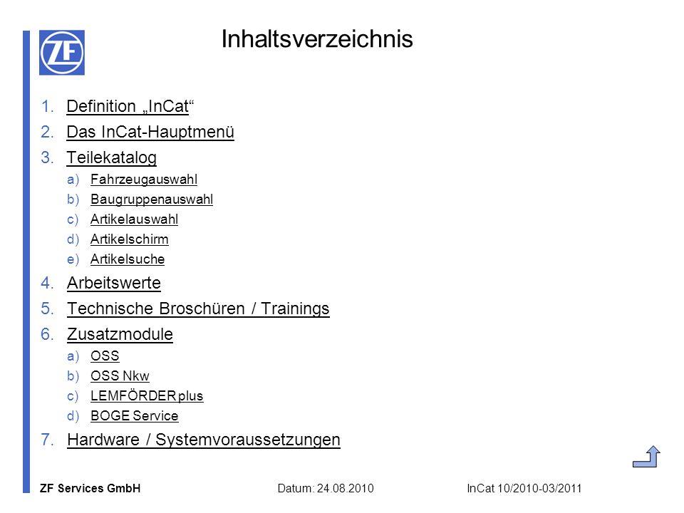 ZF Services GmbH Datum: 24.08.2010 InCat 10/2010-03/2011 Inhaltsverzeichnis 1.Definition InCatDefinition InCat 2.Das InCat-HauptmenüDas InCat-Hauptmen