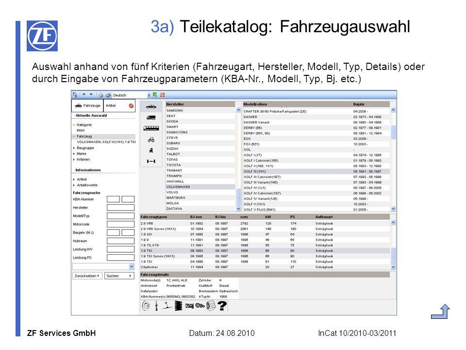 ZF Services GmbH Datum: 24.08.2010 InCat 10/2010-03/2011 3a) Teilekatalog: Fahrzeugauswahl Auswahl anhand von fünf Kriterien (Fahrzeugart, Hersteller,