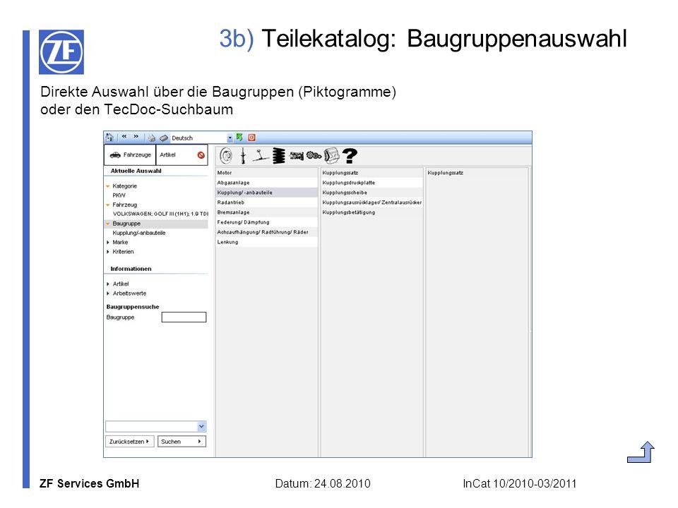 ZF Services GmbH Datum: 24.08.2010 InCat 10/2010-03/2011 3b) Teilekatalog: Baugruppenauswahl Direkte Auswahl über die Baugruppen (Piktogramme) oder de