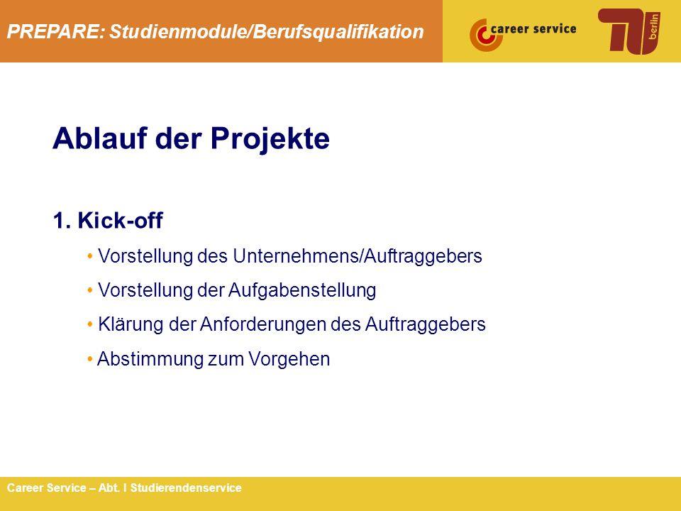 PREPARE: Studienmodule/Berufsqualifikation 4Career Service – Abt. I Studierendenservice Ablauf der Projekte 1. Kick-off Vorstellung des Unternehmens/A
