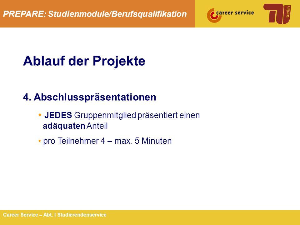 PREPARE: Studienmodule/Berufsqualifikation 7Career Service – Abt. I Studierendenservice Ablauf der Projekte 4. Abschlusspräsentationen JEDES Gruppenmi
