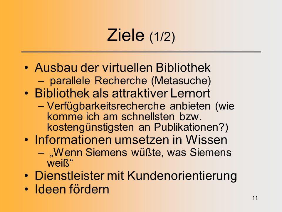 11 Ziele (1/2) Ausbau der virtuellen Bibliothek – parallele Recherche (Metasuche) Bibliothek als attraktiver Lernort –Verfügbarkeitsrecherche anbieten (wie komme ich am schnellsten bzw.